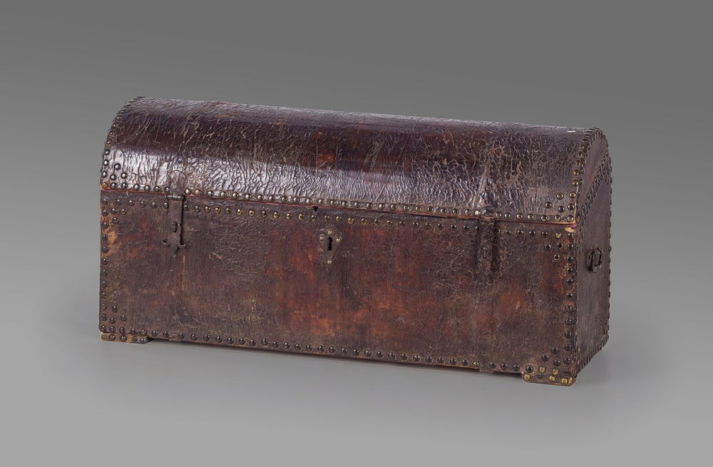 Image of A large and impressive 18th century Italian studded leather storage trunk