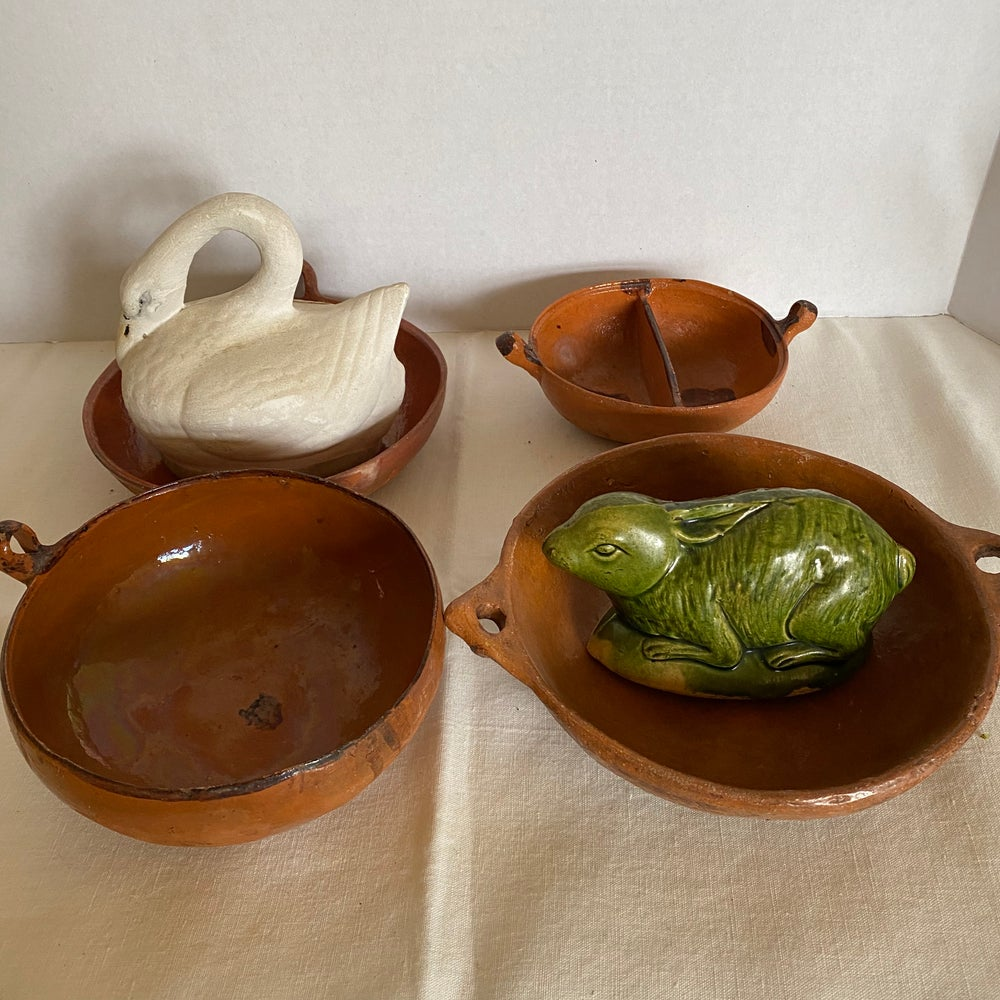 Image of Redware Vintage Mexican bowls