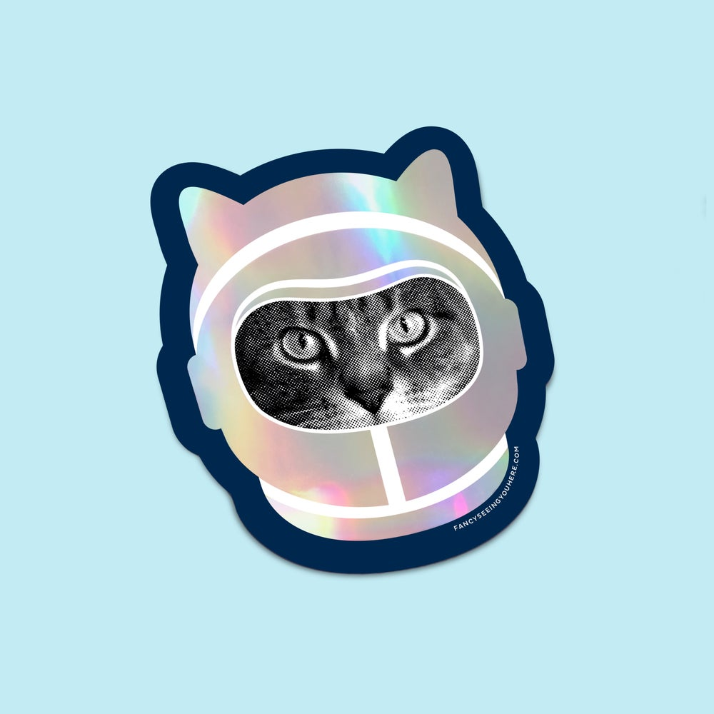 Image of holographic space cat sticker - astro cat - astronaut kitty decal