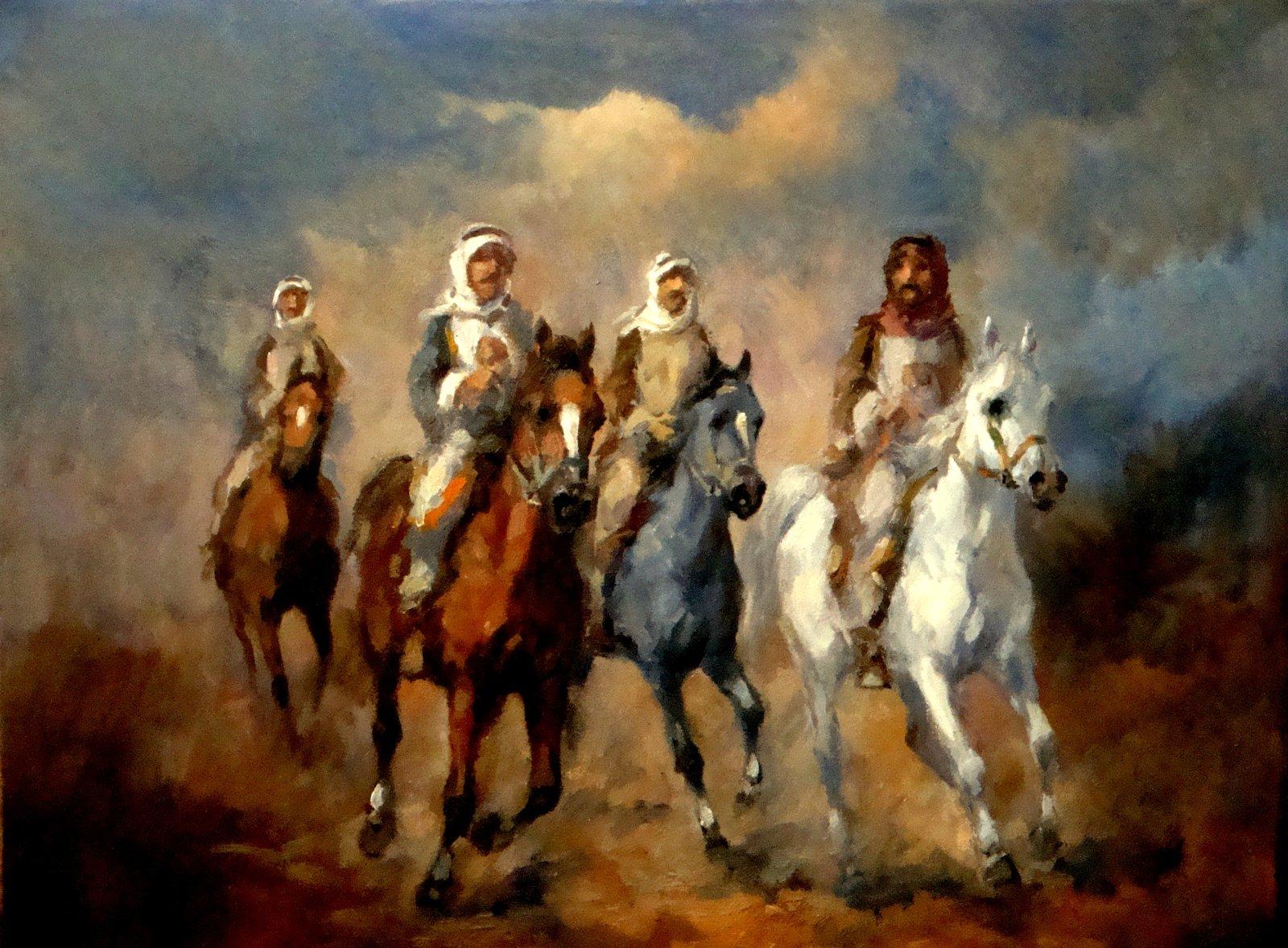 Arabian Horses W Riders Oil Painting On Canvas Qasim Ayyed Art