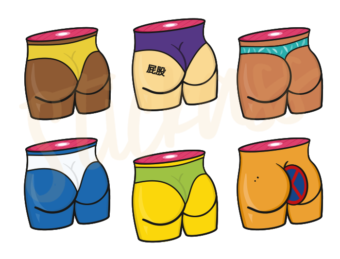 """Image of """"Diversity Butts"""" Stickers (9 Stickers)"""