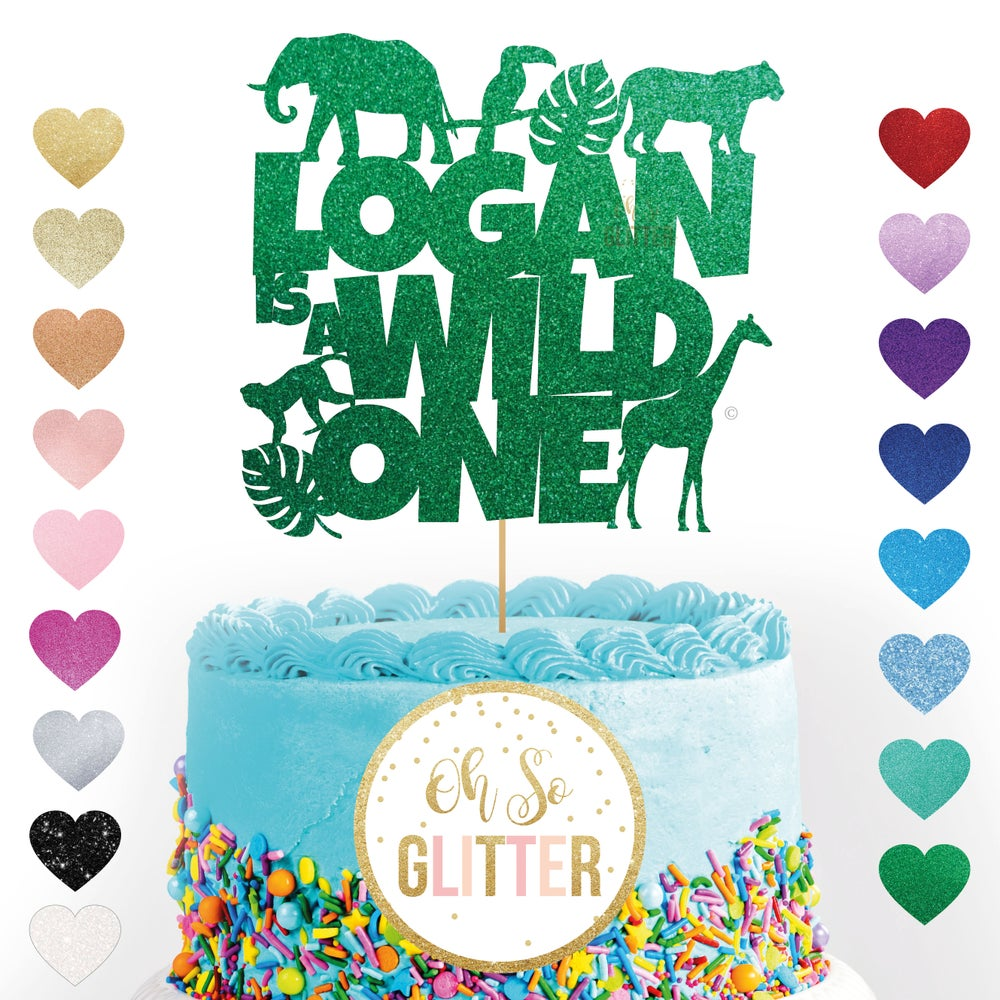 Image of Jungle Animal Wild One cake topper