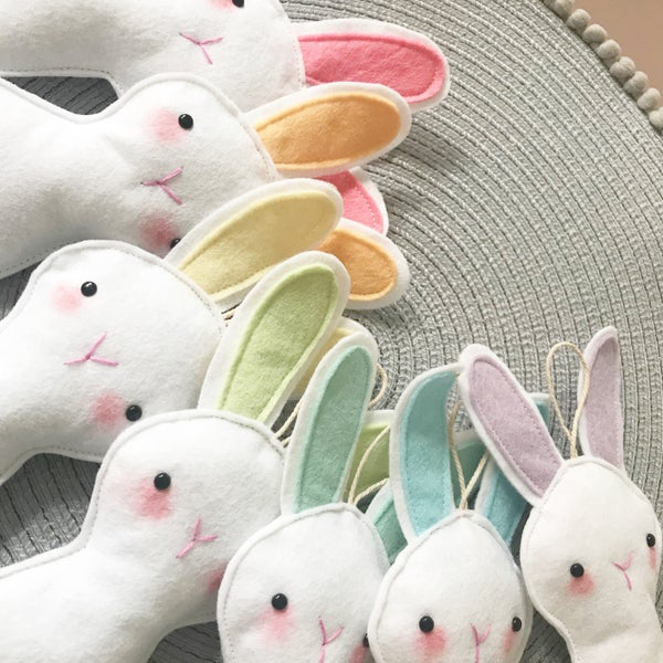 Image of Personalised white bunny decorations