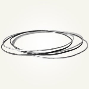 Image of Hammered Bangles Set, Sterling Silver