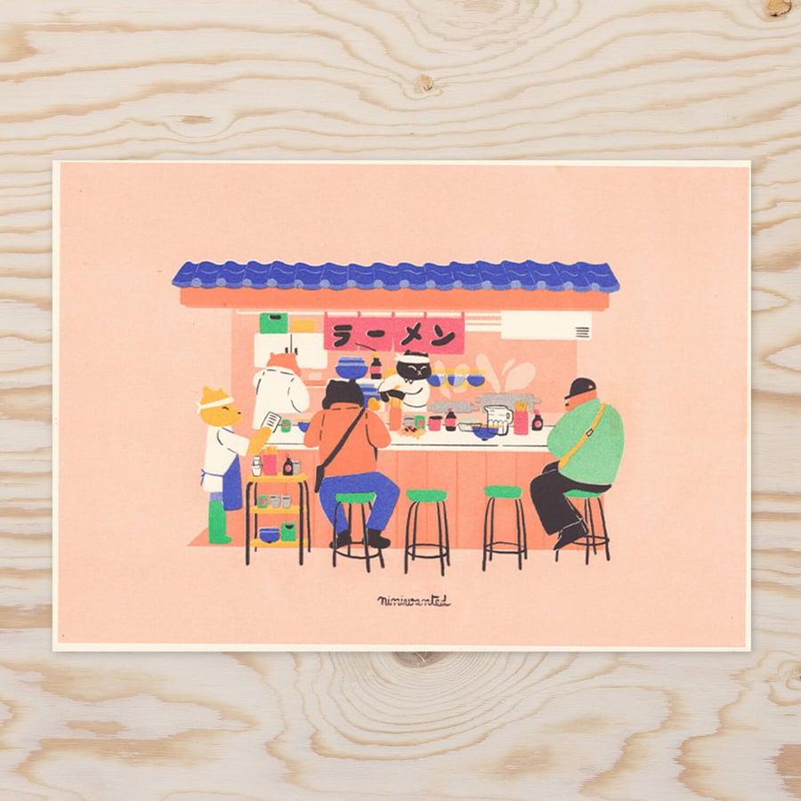 Image of Ramen stand Riso print