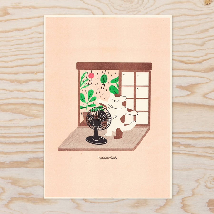 Image of Cat fan Riso print