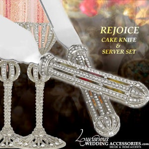 Image of Rejoice Silver Cake Knife and Server Set