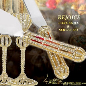 Image of Rejoice Gold Cake Knife and Server Set