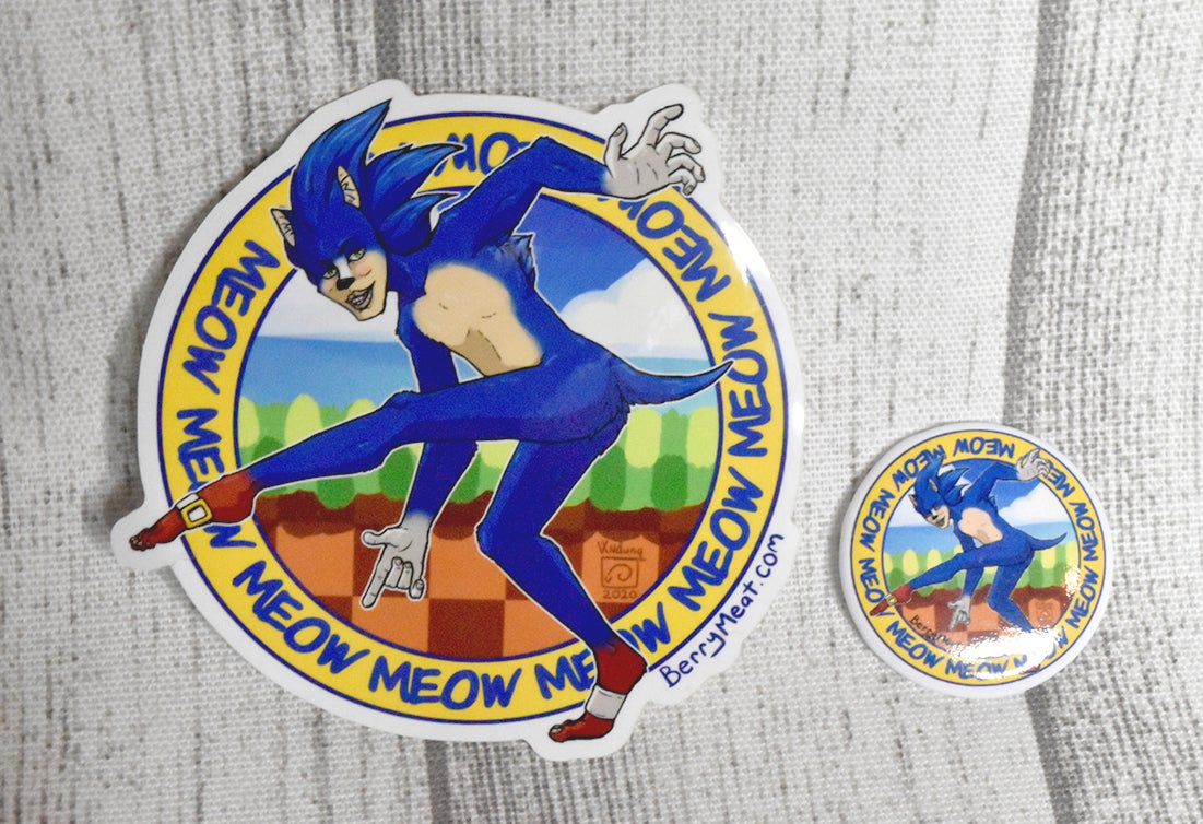 Image of Jellicle Sonic Stickers and Buttons