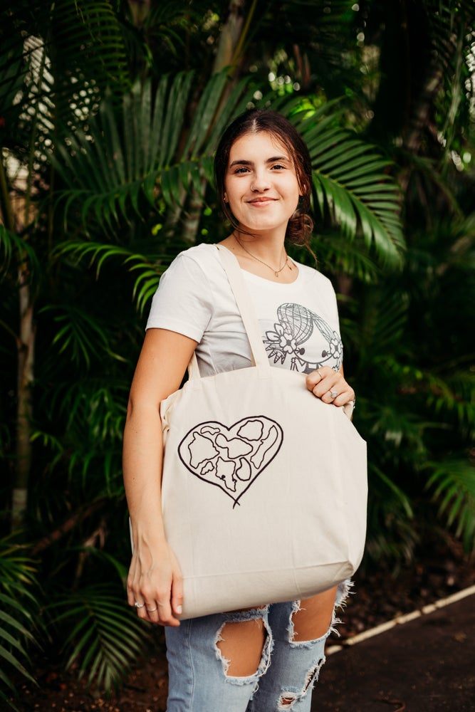 Image of NEW!!! Khaki Island Hearts Tote Bag