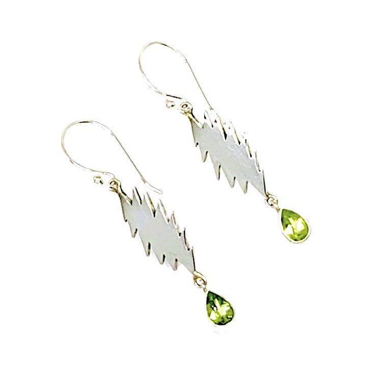 Image of 13 Point Bolt Earrings with Faceted Peridot Stones