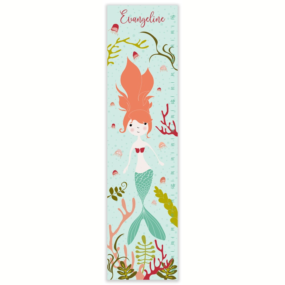 Image of Mermaid Under the Sea Personalized Canvas Growth Chart