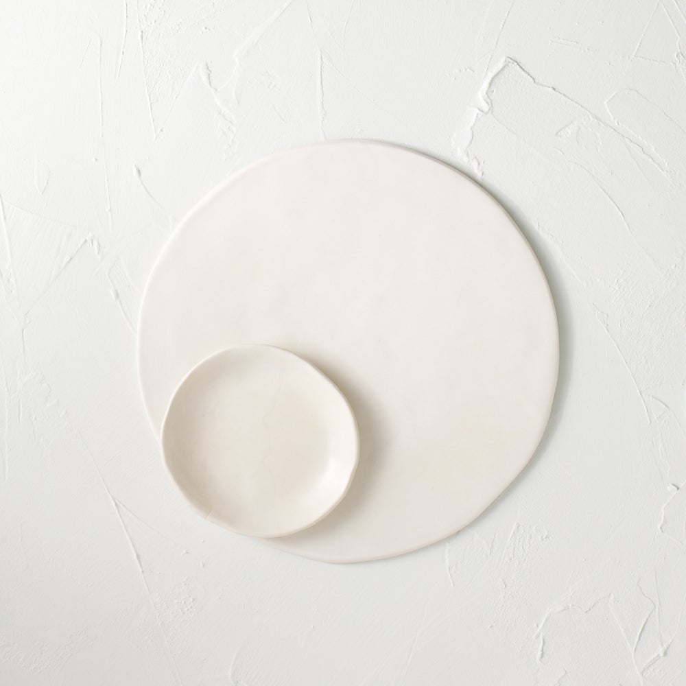 Image of Satin white cheese plate with bowl