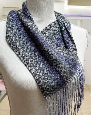 Image of Charcoal Lavender Silver & White Beaded Cowl