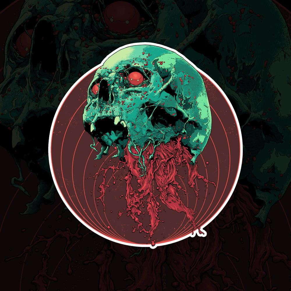 Image of Skull Full Of Blood Sticker