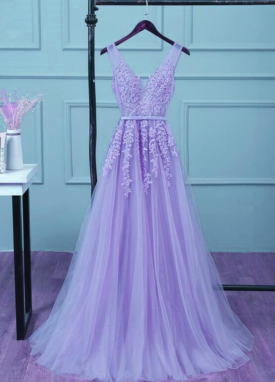 Stylish Purple Tulle Party Dress, New Prom Gown 2020