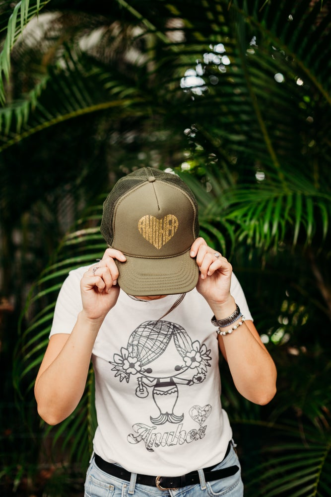 Image of Green & Gold Anuhea Heart Hat