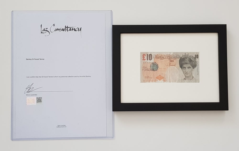 """Image of BANKSY """"DI FACED TENNER"""" - FRAMED, COMPLETE WITH LETTER OF AUTHENTICITY FROM STEVE LAZARIDES"""