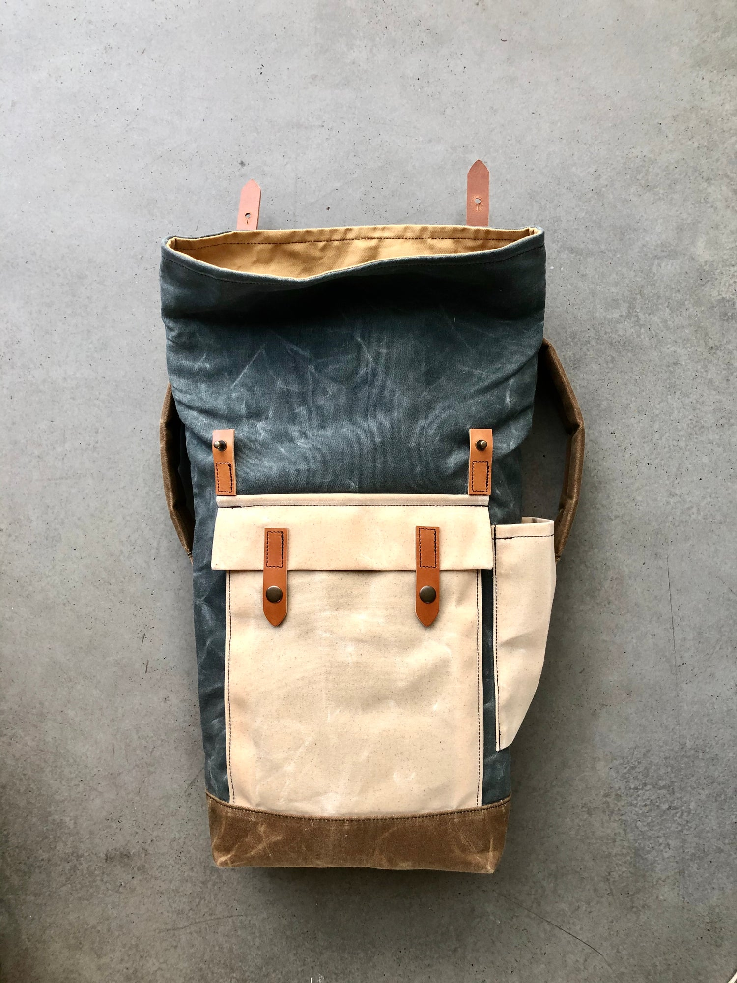 Image of Gray waxed canvas leather Backpack medium size / Commuter backpack / Hipster Backpack with roll top