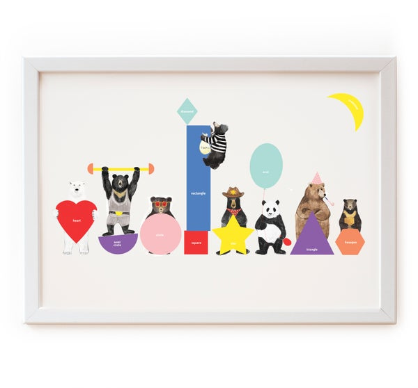 Image of Bears and shapes print
