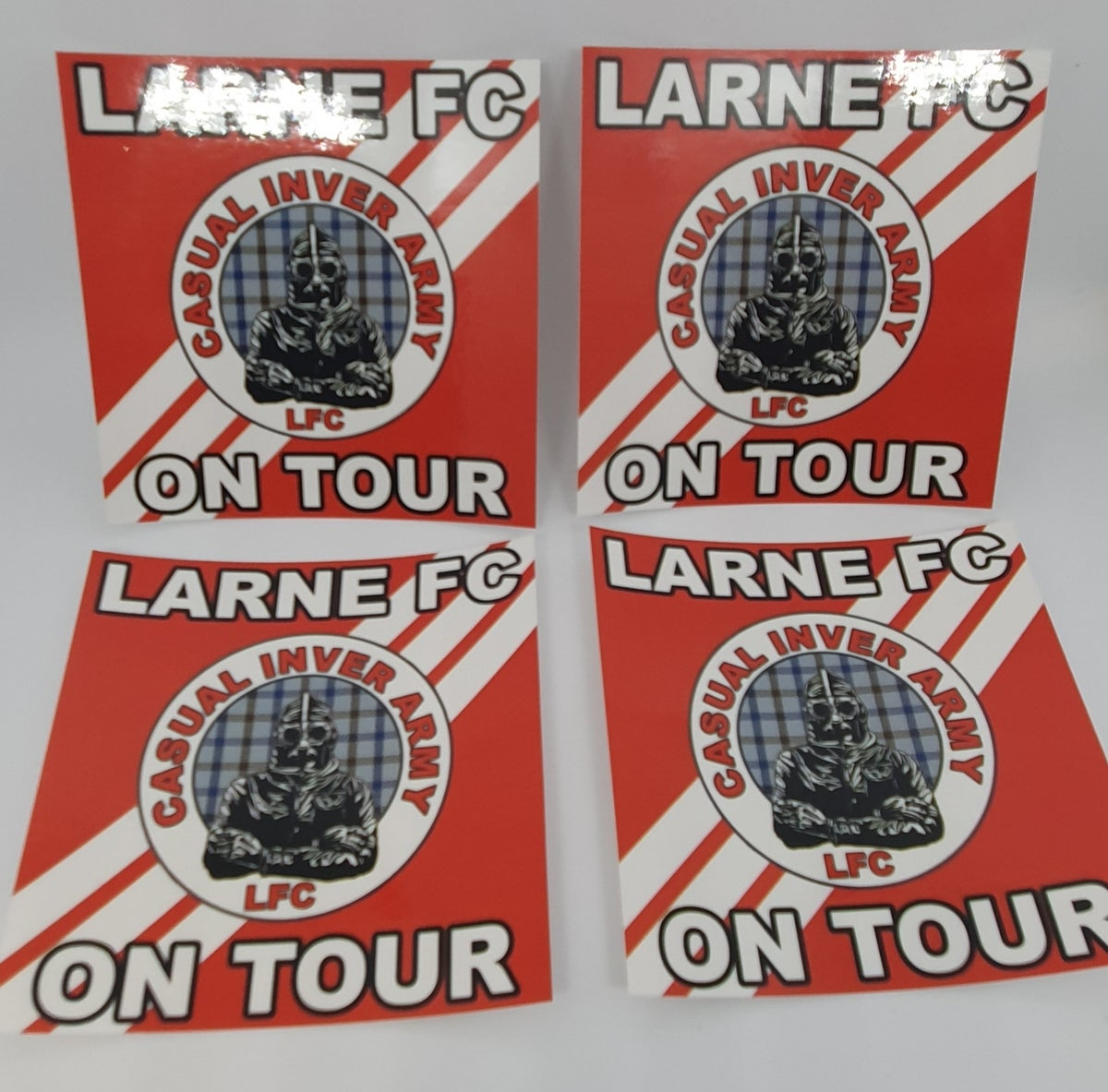 Pack of 25 7x7cm Larne CIA on Tour football/ultras stickers.