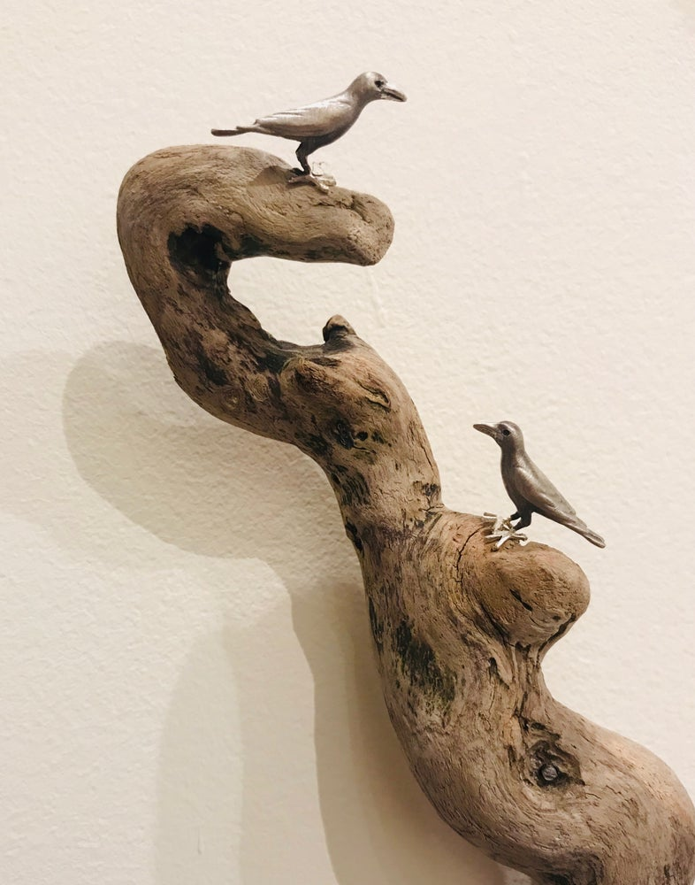 Image of Two Ravens On Driftwood Wall Sculpture #1
