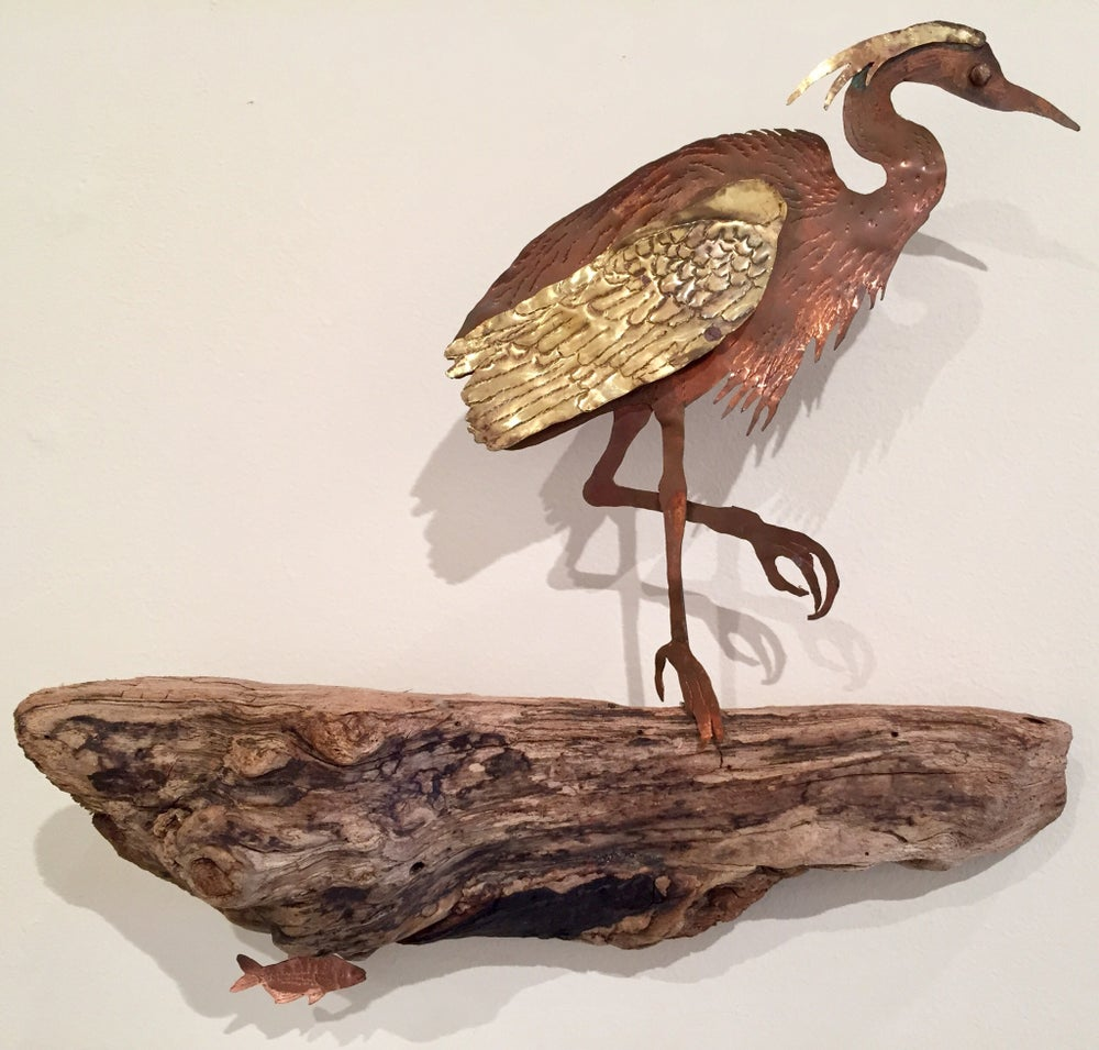 Image of Great Blue Heron Sculpture - Large