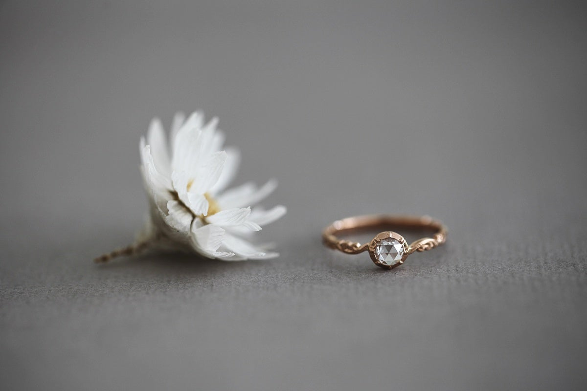 Image of 18ct Rose gold 4.5mm Rose cut diamond ring {IOW144}