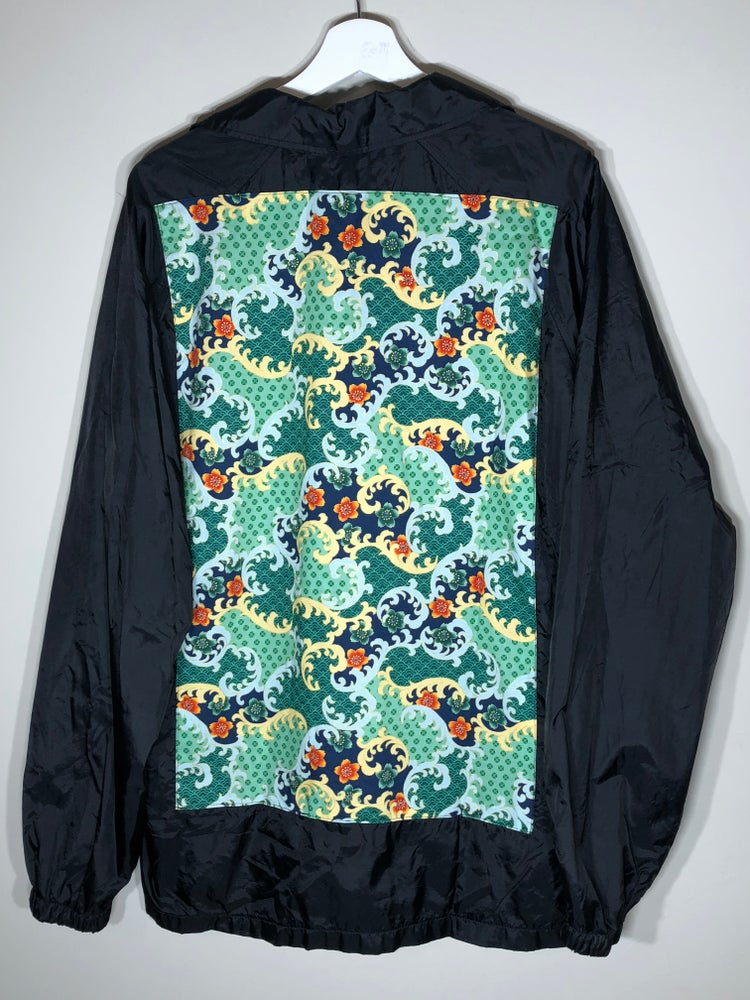 Image of Waterproof Black Floral Windbreaker