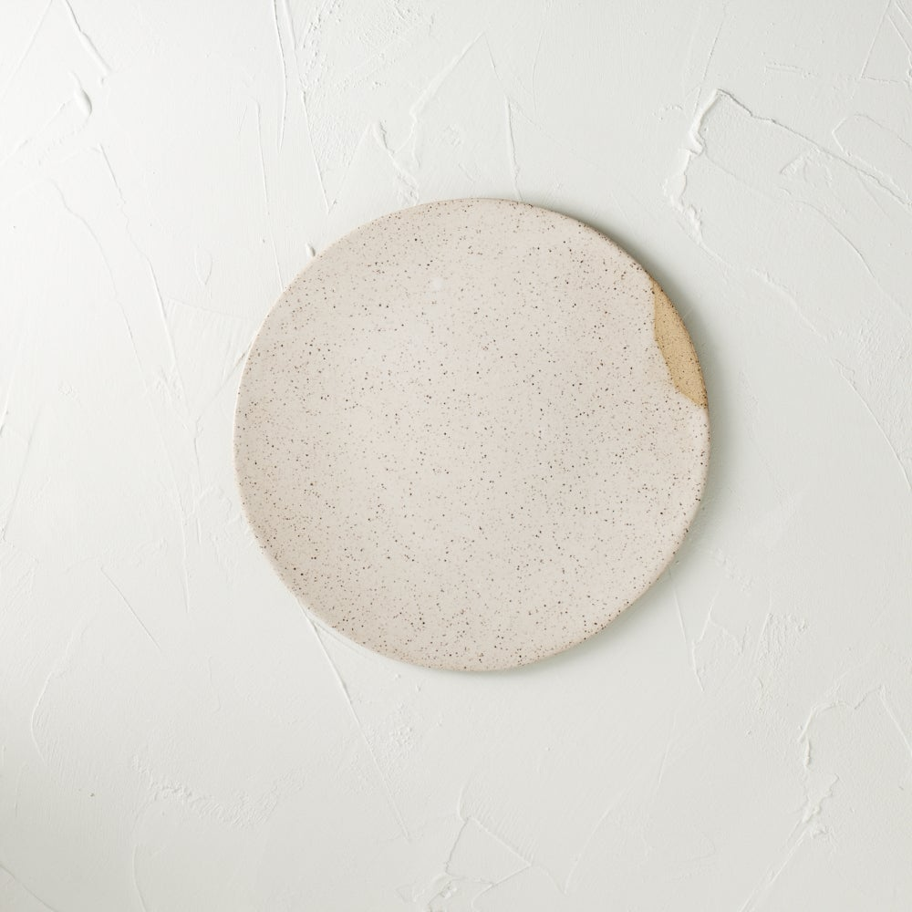 Image of White satin speckled plate