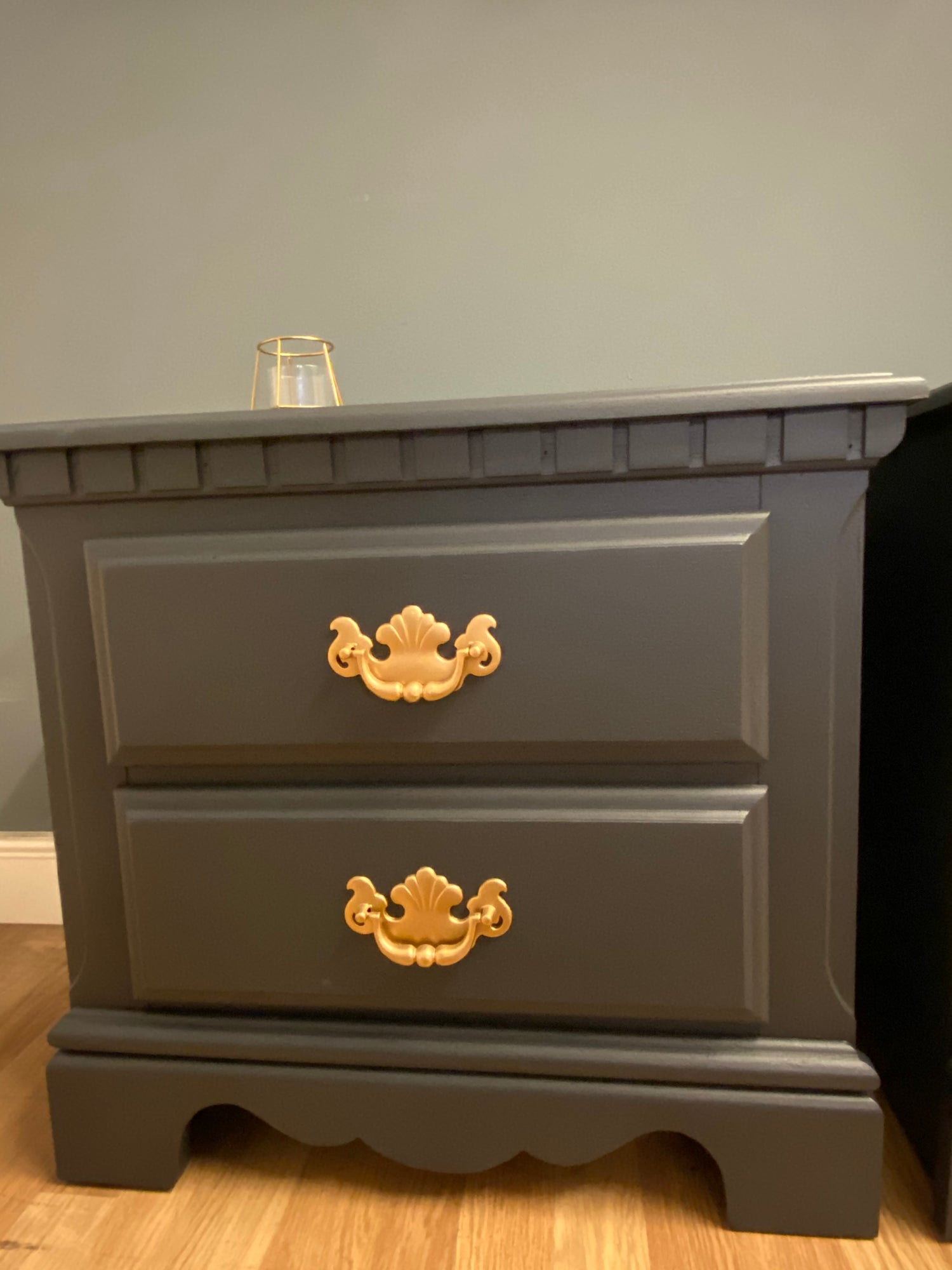Image of A pair of dark grey American bedside tables