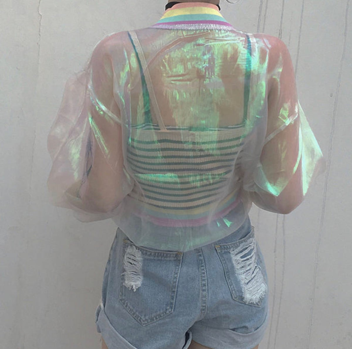 "Image of ""Rainbows"" Iridescent Spring Jacket"