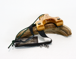 Image of Compact Wooden Slingshot, The Little Heathen, Spalted Maple Red Ash, OTF Right Handed Catapult