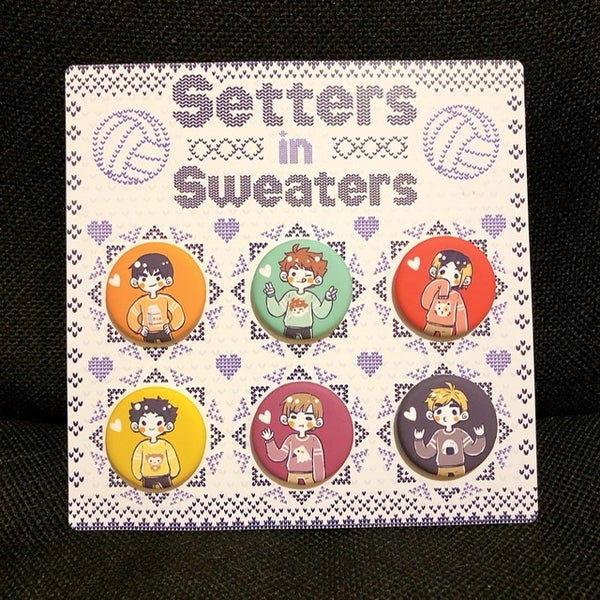 Image of Setters in Sweaters Button Set