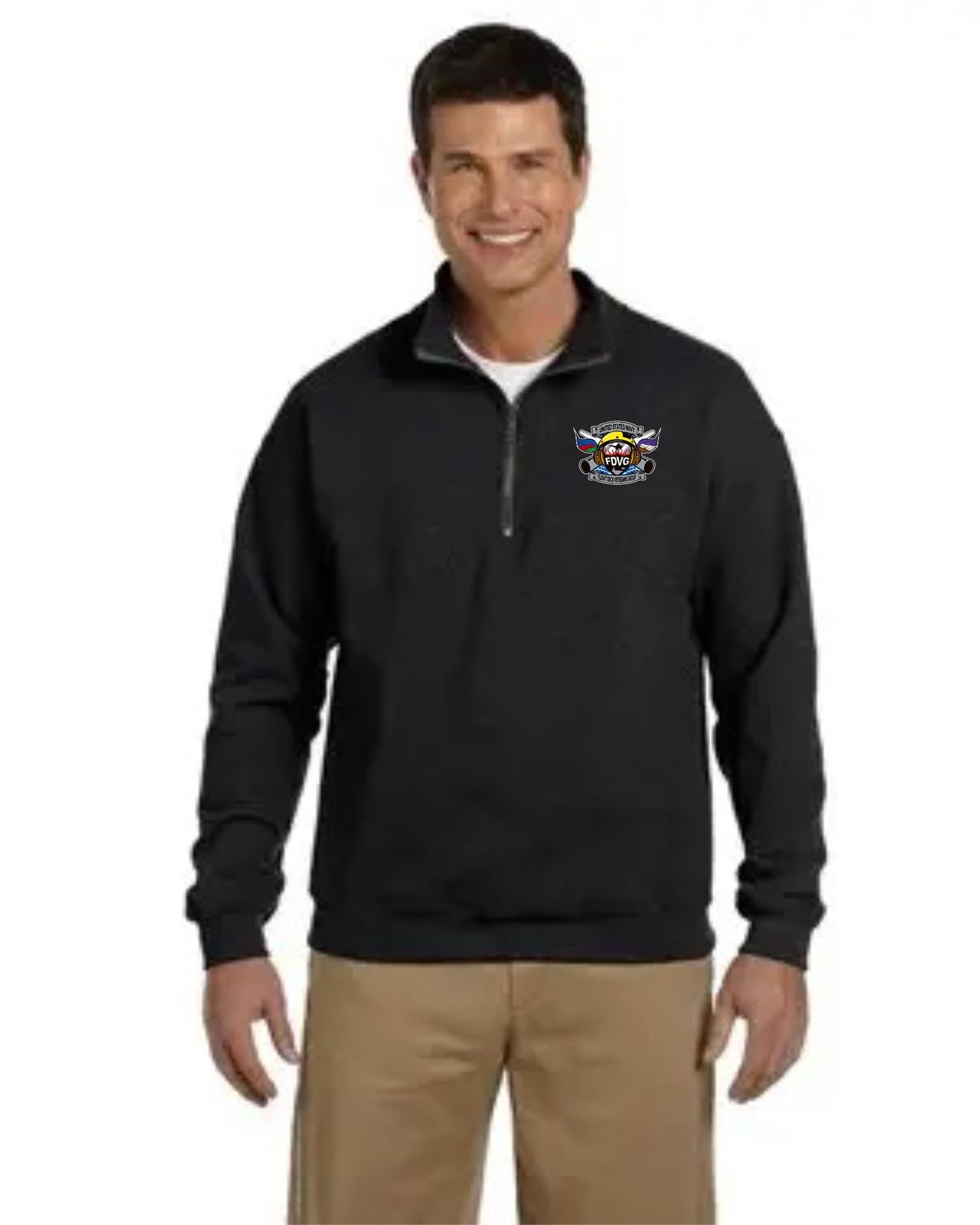 Image of Black Quarter-Zip Sweatshirt with Cadet Collar
