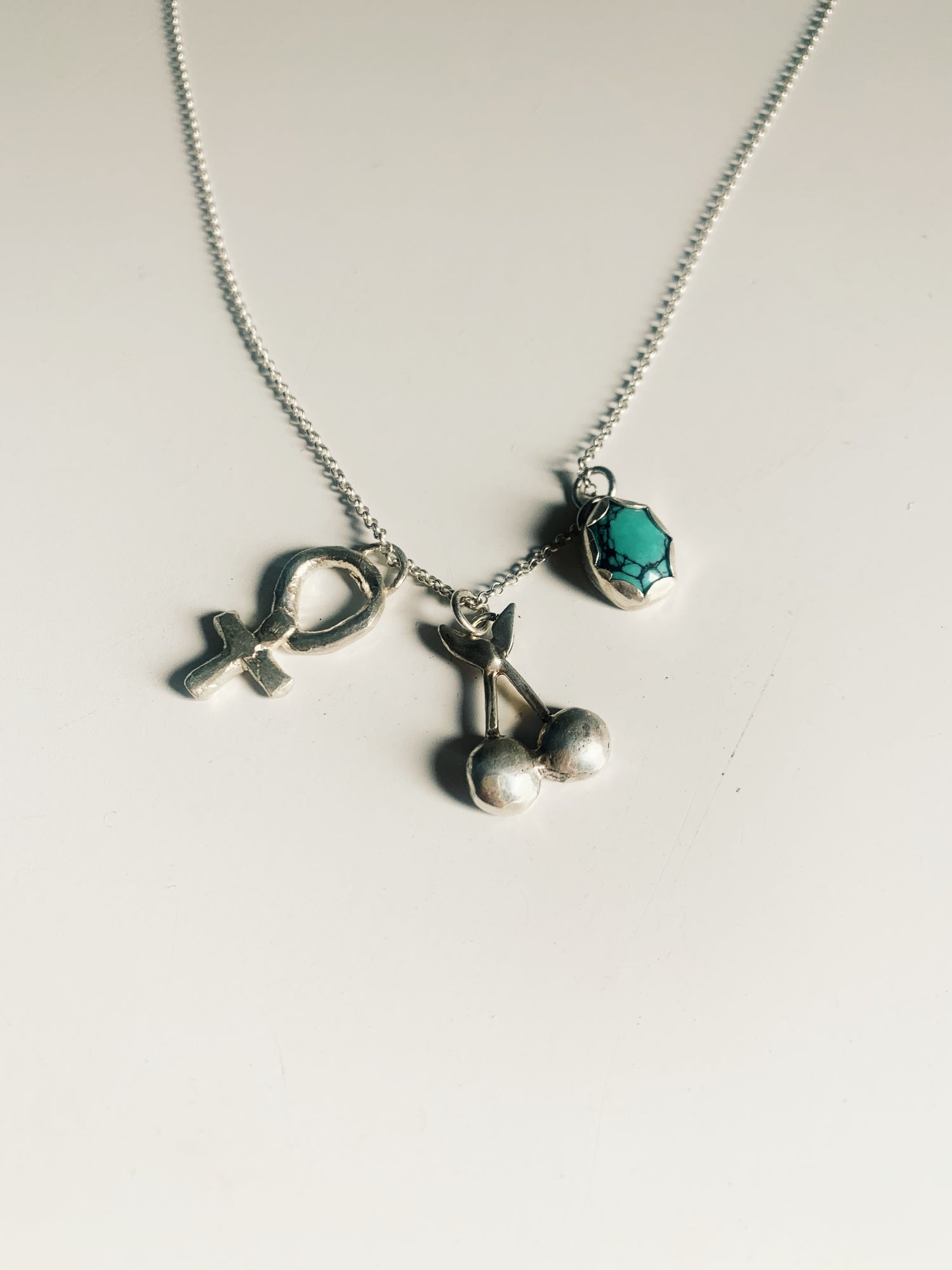 Image of Silver + Turquoise Charm Necklace