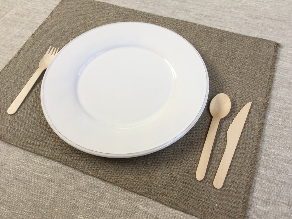Image of Set de table basic lin brut frangé côtés