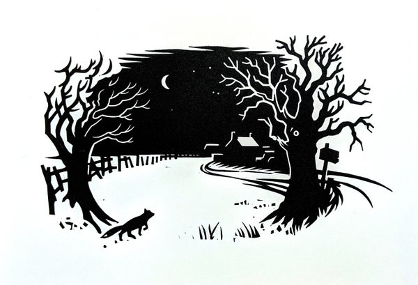 Image of Fantastic Mr Fox original linocut print