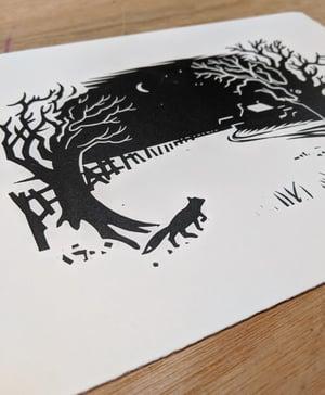 Image of Fantastic Mr Fox original linocut print