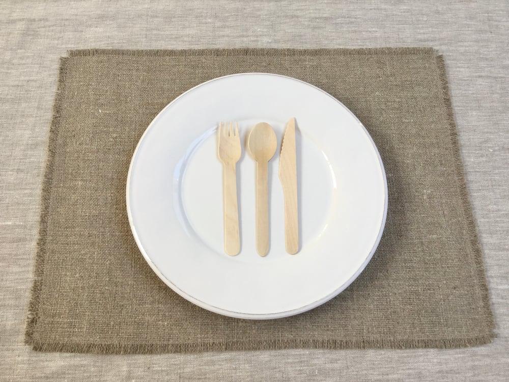 Image of Set de table 4 côtés frangés Lin naturel brut