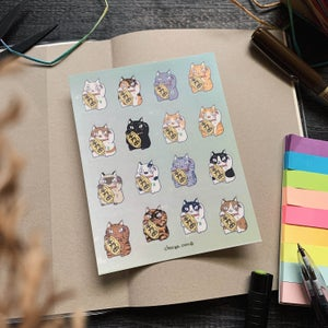 Image of Lucky cat clear sticker sheet