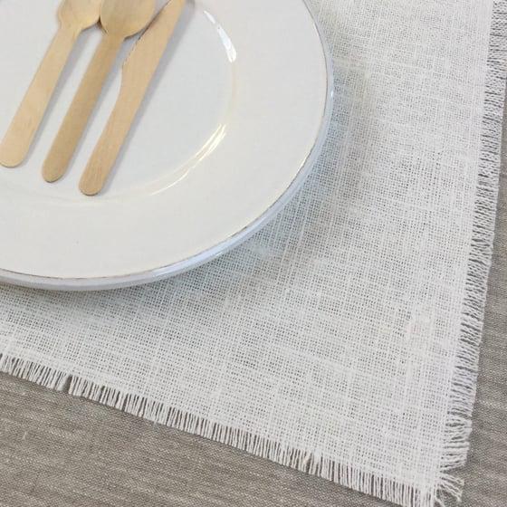 Image of Set de table 4 côtés frangés lin blanchi brut