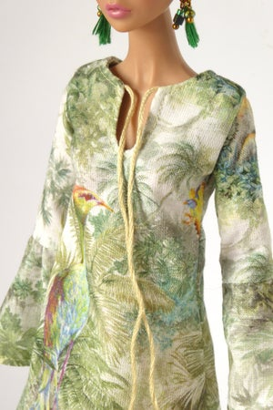 Image of Tropical Bird tunic for Poppy Parker or Barbie (see description)