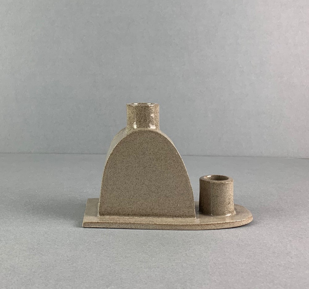 Image of Double Candleholder Grey