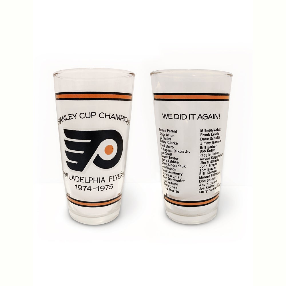 Image of Philadelphia Flyers - Vintage 1974-1975 Stanley Cup Champions Roster Glass