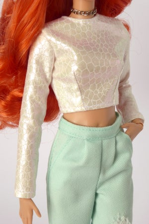 Image of Holographic white blouse for Poppy Parker or Barbie (see description)