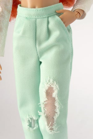 Image of Worn out mint pants with glitter net for Poppy Parker, Barbie, NU.Face (see description)