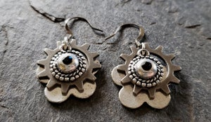 Image of Sterling Clockwork Earrings, handmade, sterling silver