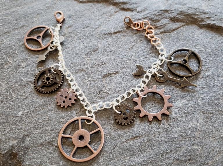 Image of Copper and Silver Clockwork Charm Bracelet, handmade