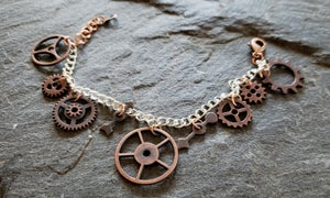 Image of Copper Clockwork Charm Bracelet, handmade